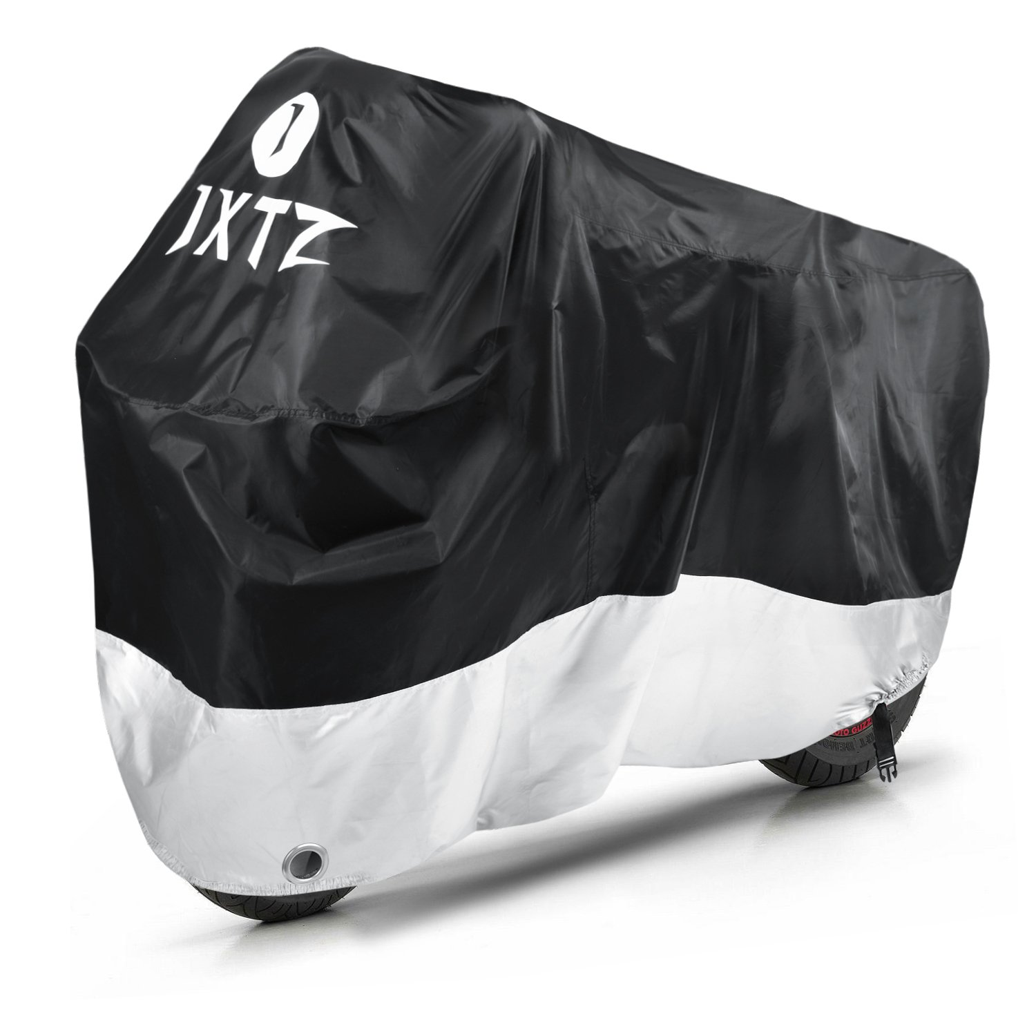 JXTZ Motorcycle Cover, Motorbike Cover, 210D Oxford Fabric, Anti Rain Dust Sun and Waterproof, Indoor Outdoor Protection with Lock-Holes, Safety Buckle, Carry Bag (Black & Silver) Oria