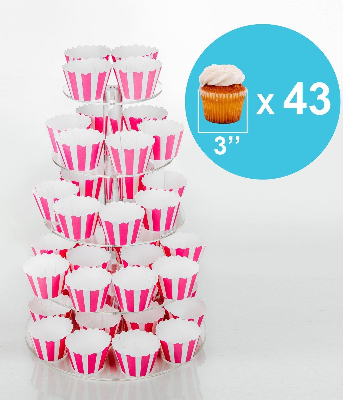 Amazon.com | Jusalpha 5 Tier Round Acrylic Cupcake Stand-cake stand ...