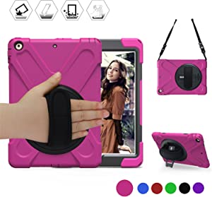 BRAECN iPad Air Shockproof Case [Heavy Duty] Full-Body Rugged Protective Case with a 360 Degree Swivel Kickstand/a Hand Strap/a Shoulder Strap for Apple iPad Air (Rose Red)