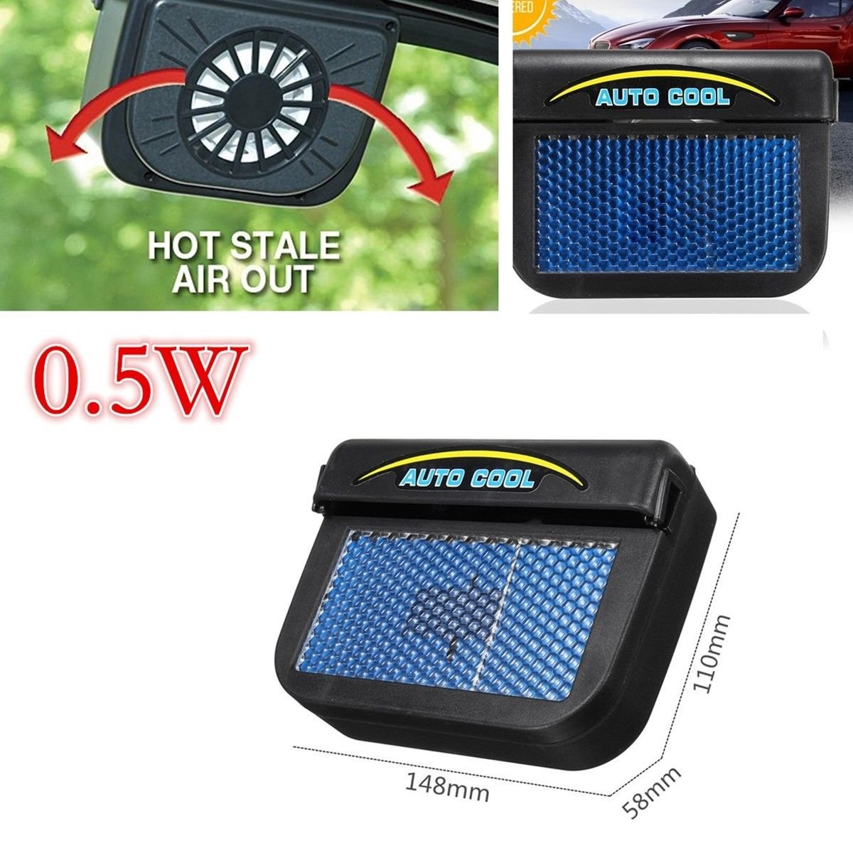 Qiyun Universal Popular 0.5W Solar Powered Auto Air Vent Cooling Fan, Car Ventilation Cooler Radiator with Rubber Strip