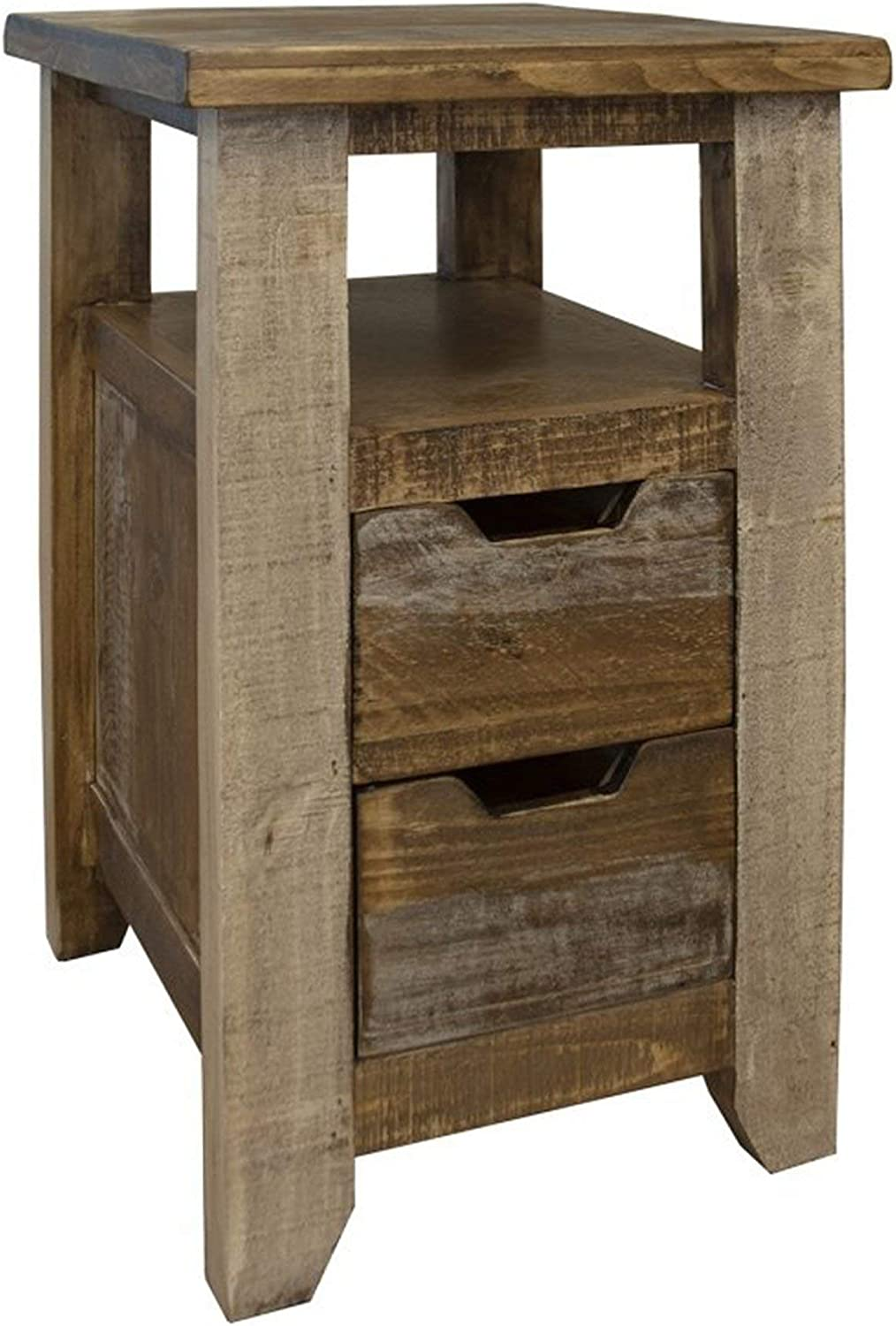Crafters and Weavers Bayshore Farmhouse 2 Drawer End/Side Table