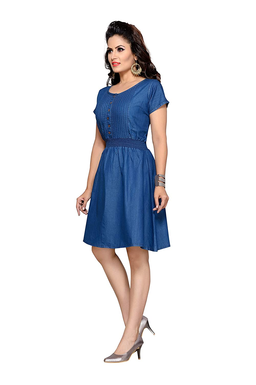 Team Vagad Women s Denim Skater Dress  Amazon.in  Clothing   Accessories 173356b7e