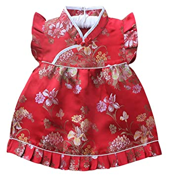 7181e3908903 Amazon.com: CRB Fashion Baby Toddler Kids Girls Qipao Celebration Chinese  New Years Asian Costume Set Dress Outfit: Clothing