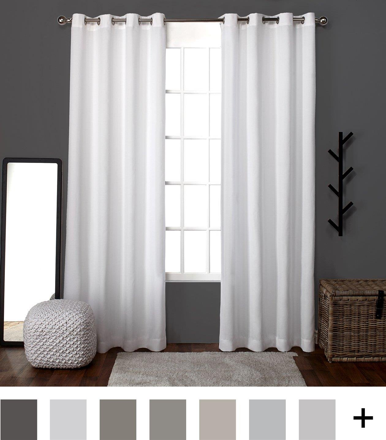Home Loha Linen Window Curtain Panel Pair with Grommet Top, Winter White