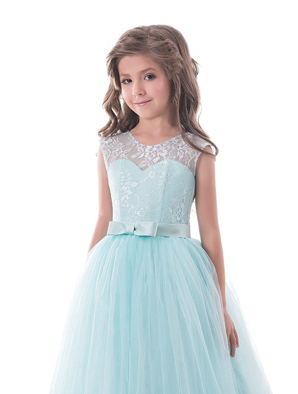 842ca45348 Amazon.com  Lilis Lovely Princess Tulle Lace Appliques Flower Girls Dresses  Sleeveless Pageant Gowns Sky Blue  Clothing