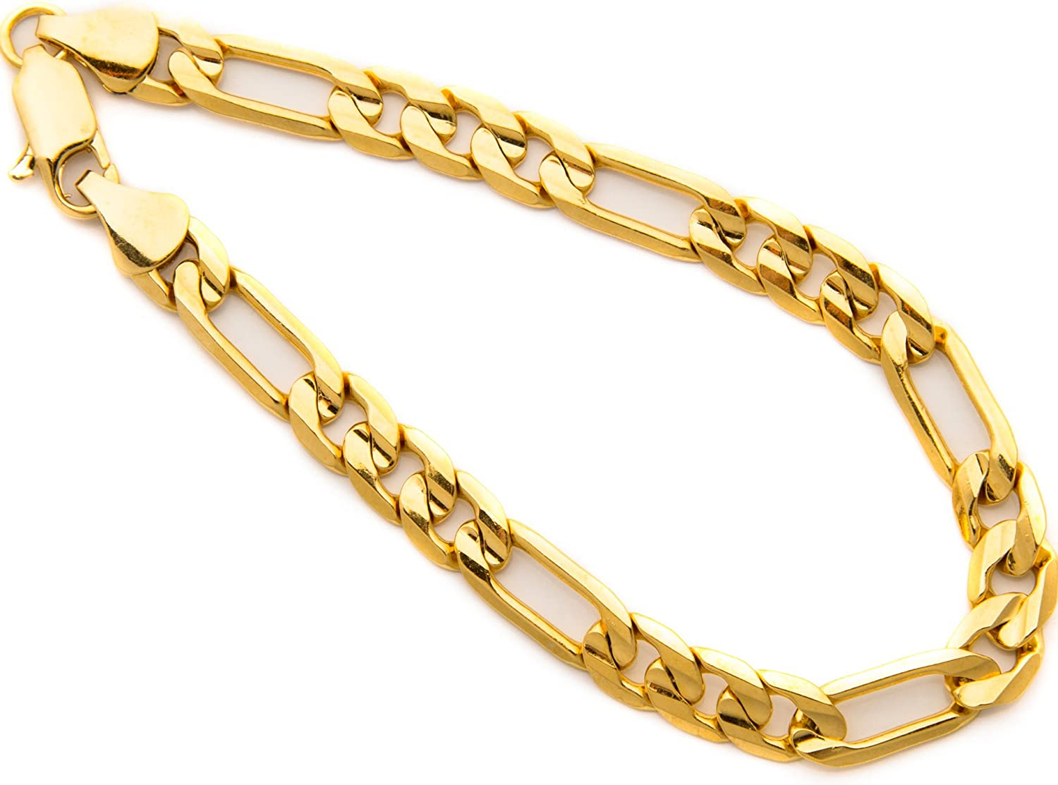 Lifetime Jewelry Diamond Cut 7mm Figaro Bracelet for Men 24k Real Gold Plated