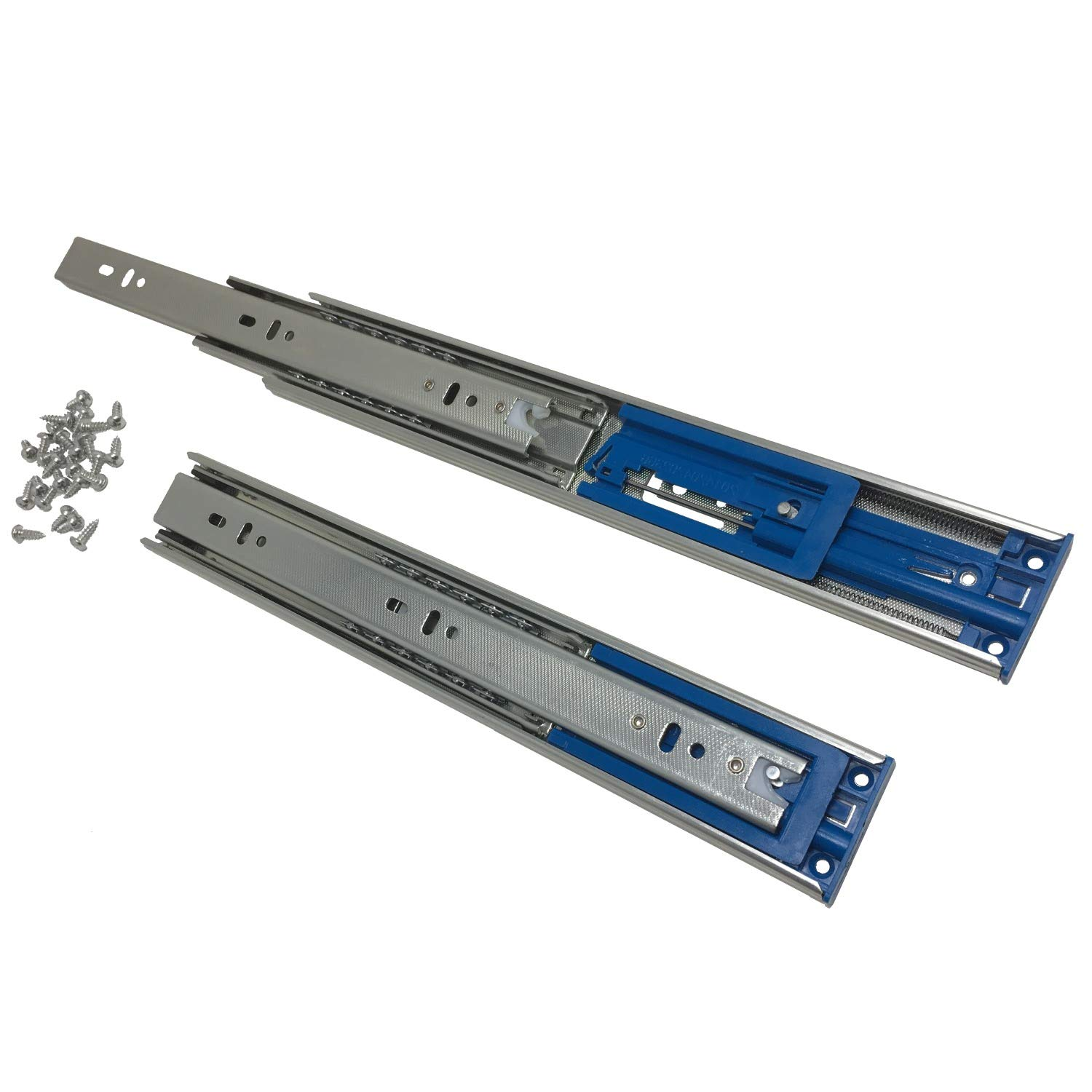 22'' Soft Close Ball Bearing Drawer Slides - (Also 12'' to 22'' Lengths) - 100 lb.Capacity - Side Mount w/Screws - 2 Sets