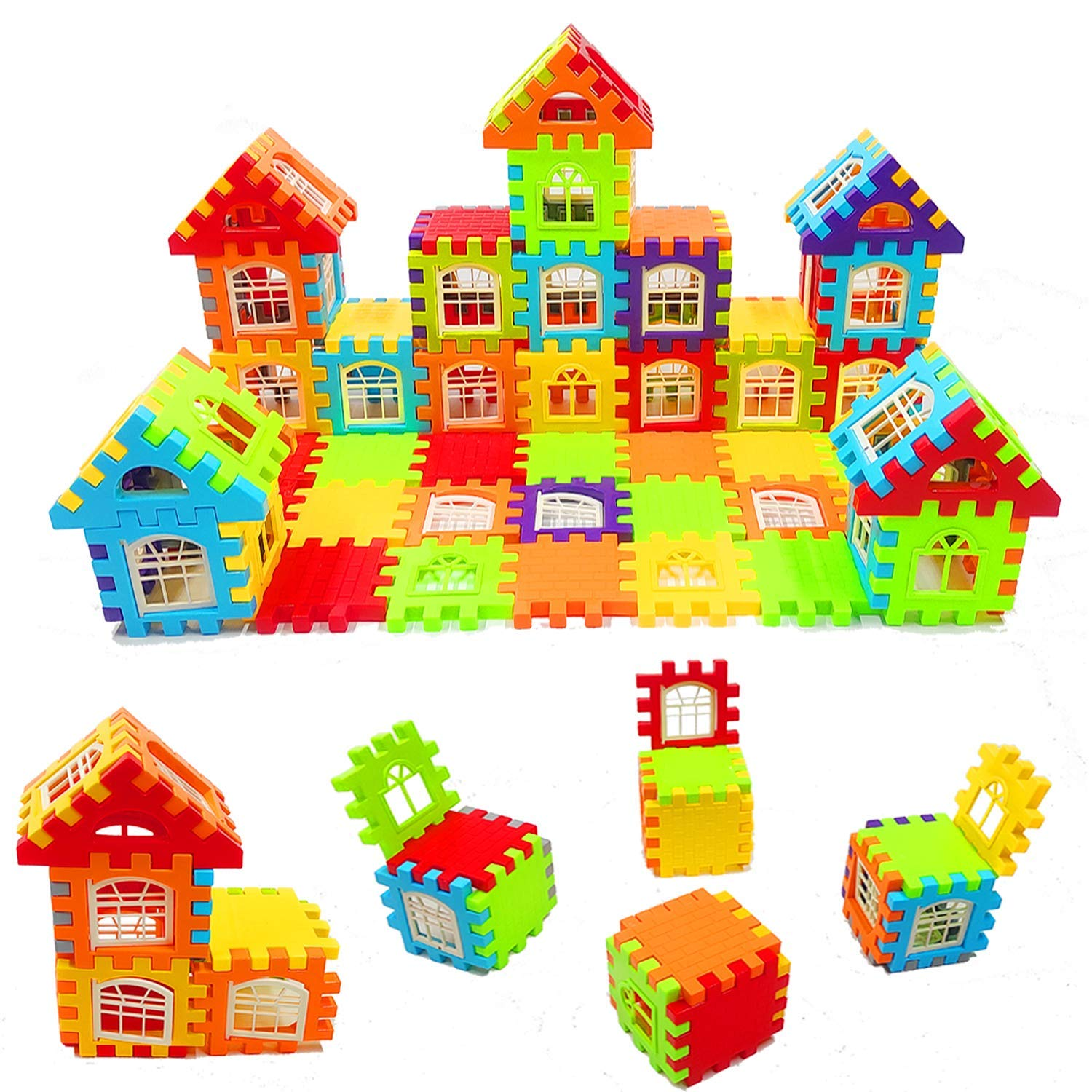 Colorful 72 Pieces House Building Blocks with Attractive Windows
