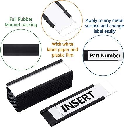 Cassette Postali in Metallo Porta Carta Magnetico Supporto di Carte Magnetiche con Magneti e Carte per Scaffalature Metalliche 40 Confezioni, 1 x 3 Pollici Scaffali Metallici