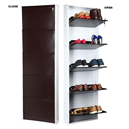 cd2d0e53698 Parasnath White Brown Shoe Den with Bigger in Size Shoe Rack White Brown  with 5 Shelves  5 Layer Shoes Stand Made in India  Amazon.in  Home   Kitchen