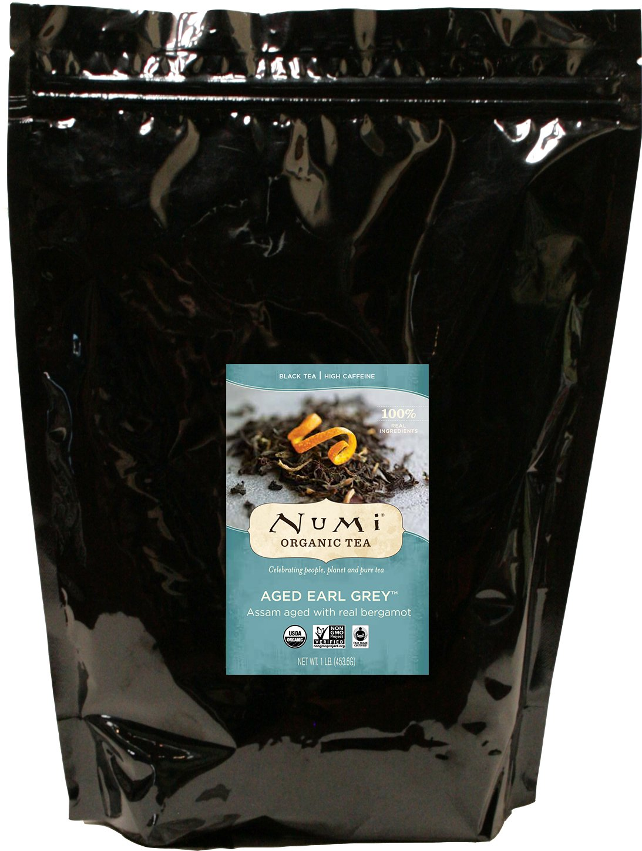 Numi Organic Tea Aged Earl Grey, 16 Ounce Pouch, Loose Leaf Black Tea (Packaging May Vary)