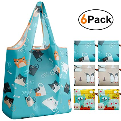 9a9bcc49c745 REGER Foldable Grocery Shopping Bags Compact Pocket Durable Bulk Eco  Friendly Medium Size(Penguin Cats,Pack of 6)