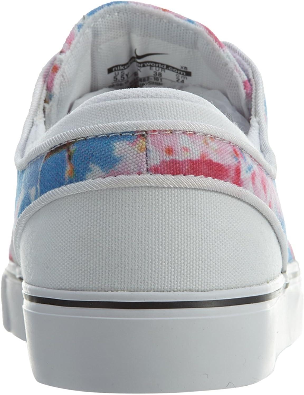 Nike Kids Stefan Janoski Premium Canvas Skate Shoe White//Black//Cherry Blossom 4.5 M US Big Kid