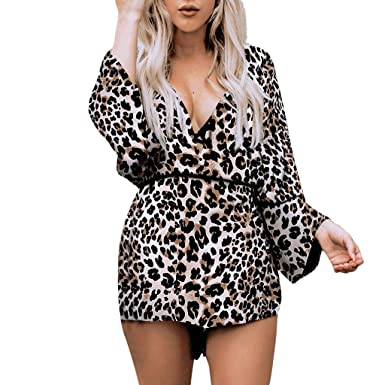 31eefea4304 Suma-ma Womens Leopard Print Jumpsuits Long Sleeve Casusal Short Rompers V- neck Loose Beach Playsuits Outfits at Amazon Women s Clothing store