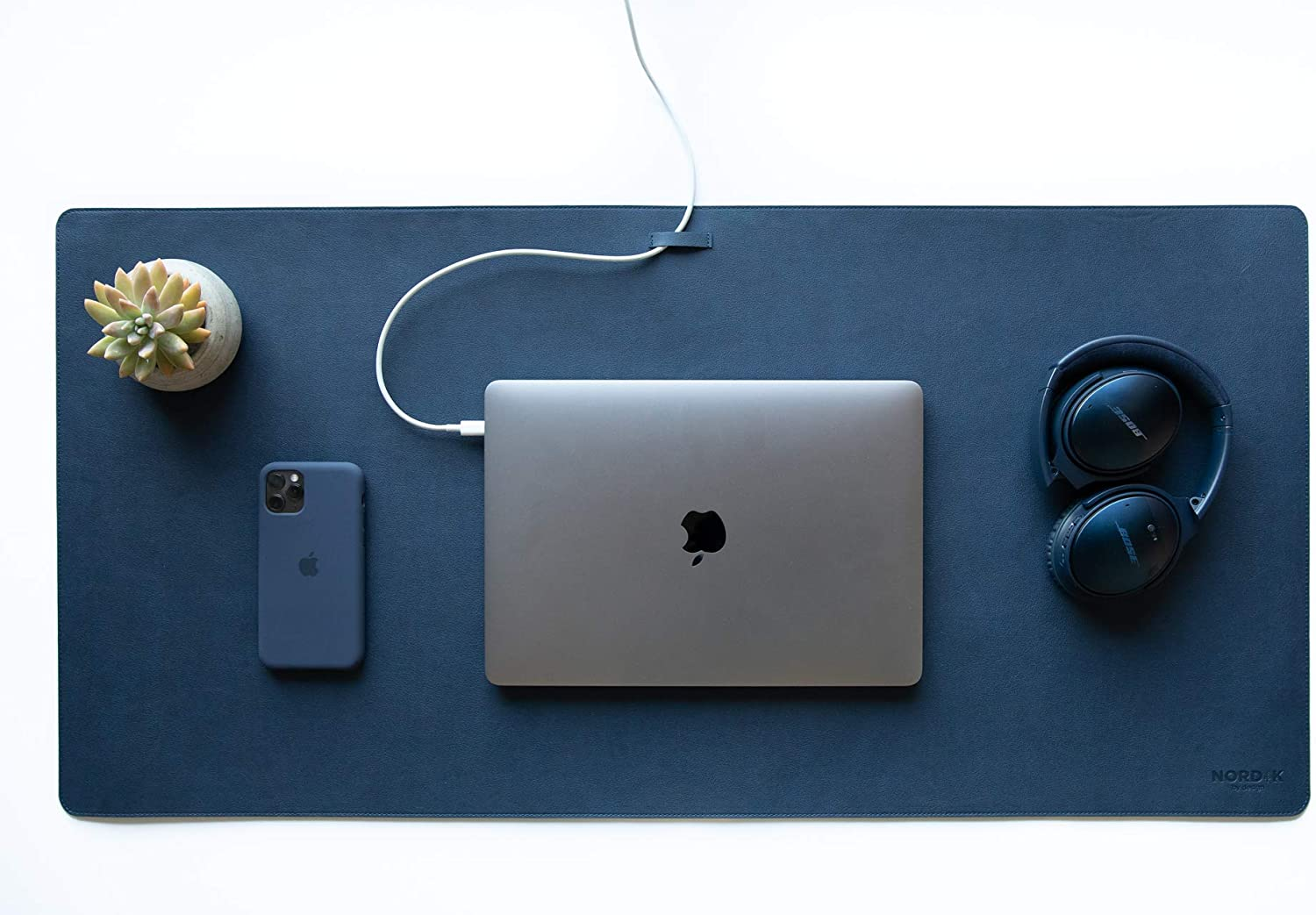 Nordik Leather Desk Mat Cable Organizer (Midnight Blue 35 X 17 inch) Premium Extended Mouse Mat for Home Office Accessories - Non-Slip Vegan Leather Desk Pad Protector & Desk Blotter Pad