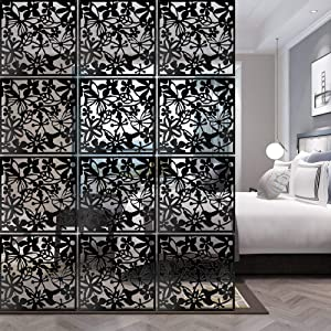 ANMINY 12 PCS Hanging Room Divider Flower Carving Pattern Panels Decorative Wall Screen Panel Hollow Out Design for Living Dining Room Kitchen Bedroom Office Bar Restaurant Home Hotel Decor - Black