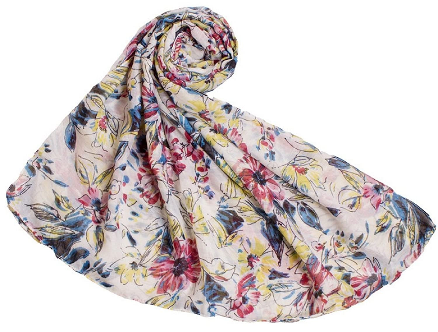 Bettyhome Fashion Girls Floral Pattern Voile Women's Large Beach Scarf Shawl Lightweight 5 Color