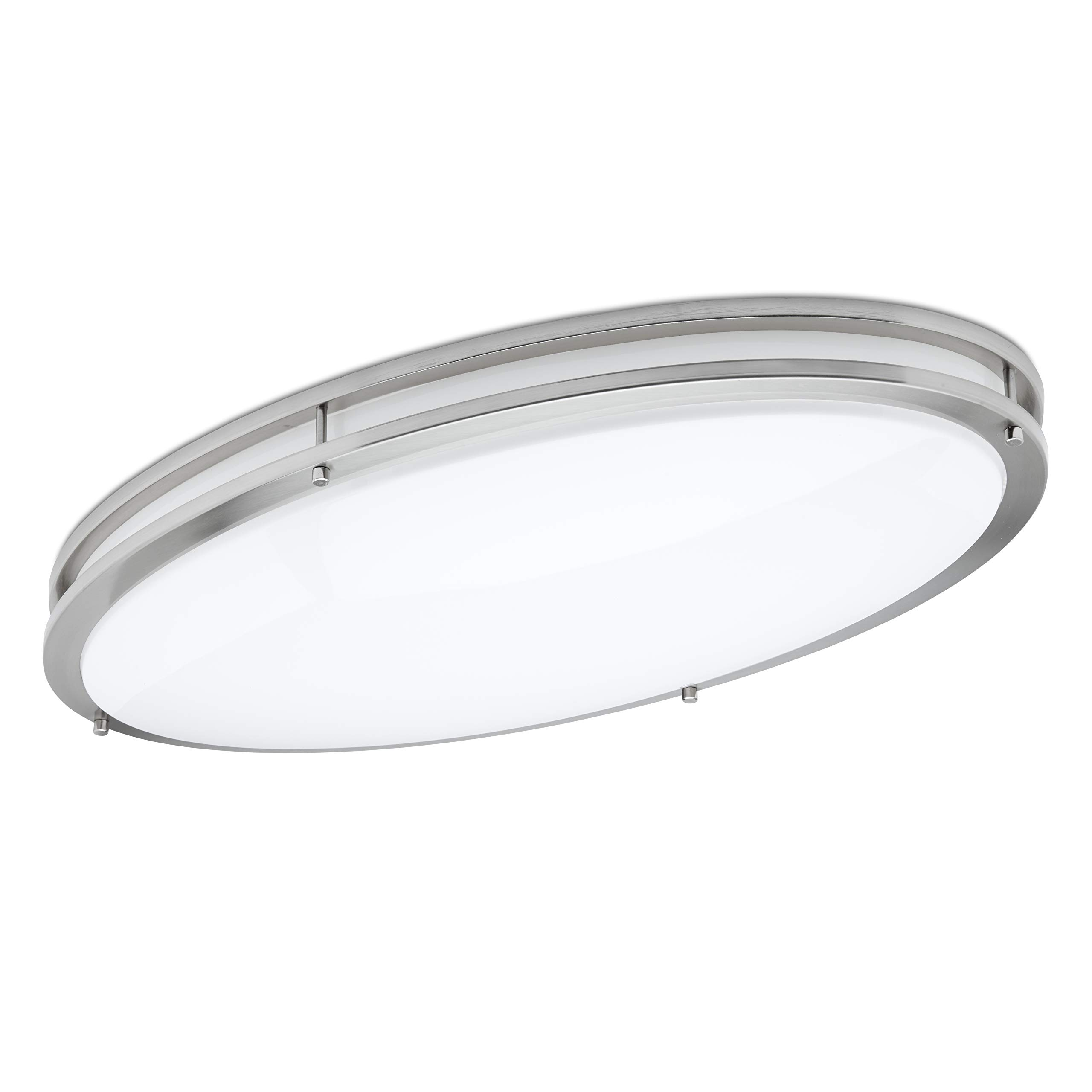 Green Beam LED Light Fixture, Flush Mount Light Fixture, Brushed Nickel Ceiling Light Fixture, Kitchen Light Fixtures, Bathroom Fixture, 58W, 5000K White Light, 5000 Lumens, 32 Inch Oval Light Fixture