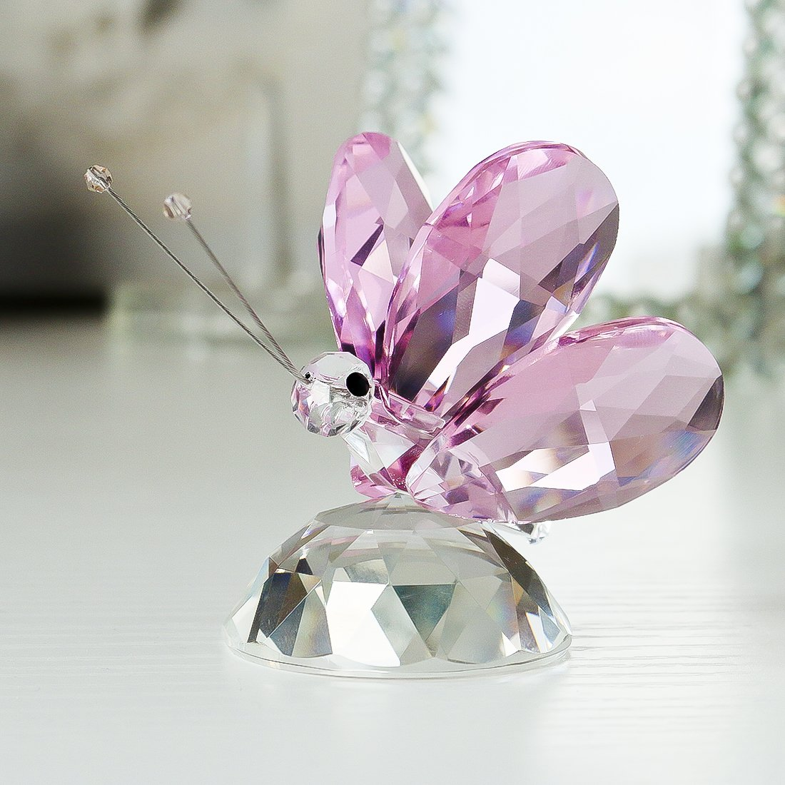 H/&D Crystal Flying Butterfly with Crystal Base Figurine Collection Cut Glass Ornament Statue Animal Collectible Paperweight Purple
