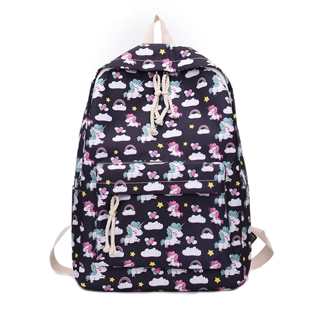 School Backpack for Girls Nylon Style Unicorn Shoulder Bag Teenage Students Laptop Travel College (black)