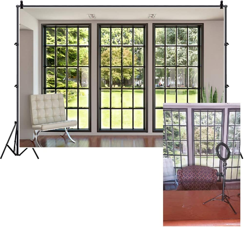 AOFOTO 7x5ft Simple Room Backdrop French Sash Window Curtain Photography Background Interior Casement Solid Color Wall Wooden Floor Modern Flat Furniture Apartment Snail Decoration Residence Props