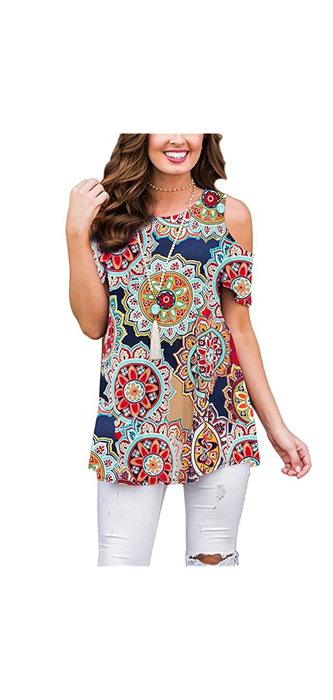 Womens Cold Shoulder Shirt Round Neck Short Sleeve