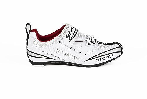 Spiuk Sector Triathlon - Zapatilla de Ciclismo Unisex, Color Blanco/Plata, Talla 43: Amazon.es: Deportes y aire libre