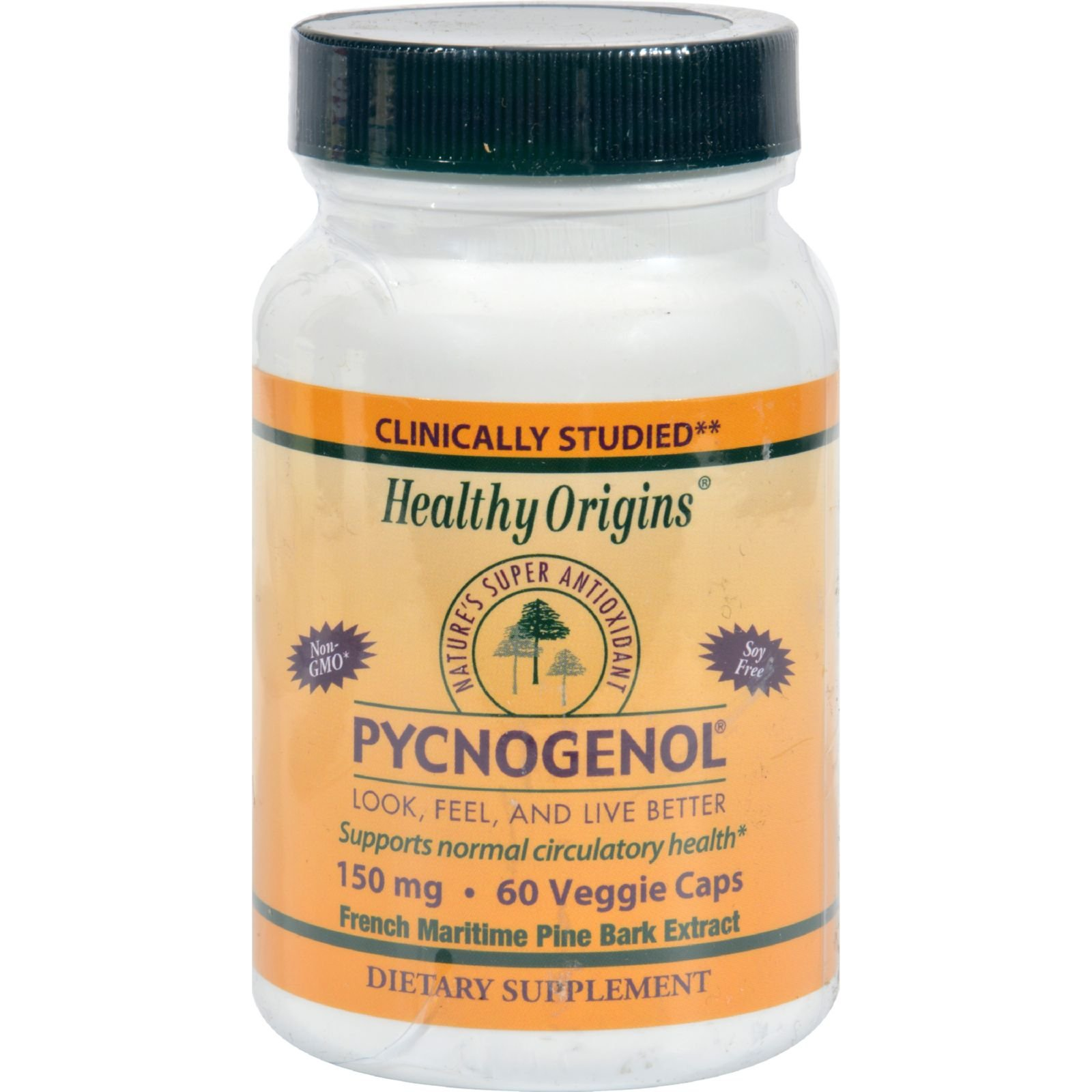 Healthy Origins Pycnogenol - 150 mg - Non GMO - 60 Vegetarian Capsules (Pack of 2)