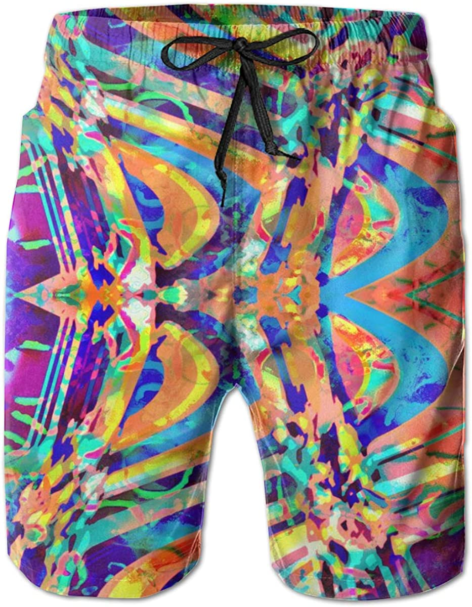 Yeates Flower Mens Swim Trunks Quick Dry Colorful Psychedelic Trippy Vector Printed Summer Beach Shorts Board Beach Short