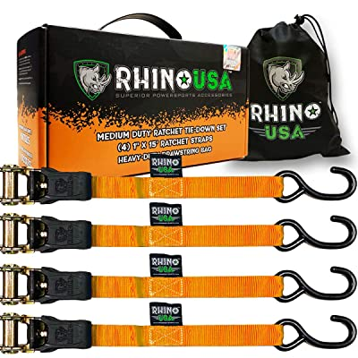 "RHINO USA Ratchet Tie Down Straps (4PK) - 1,823lb Guaranteed Max Break Strength, Includes (4) Premium 1"" x 15' Rachet Tie Downs with Padded Handles. Best for Moving, Securing Cargo (ORANGE): Automotive"