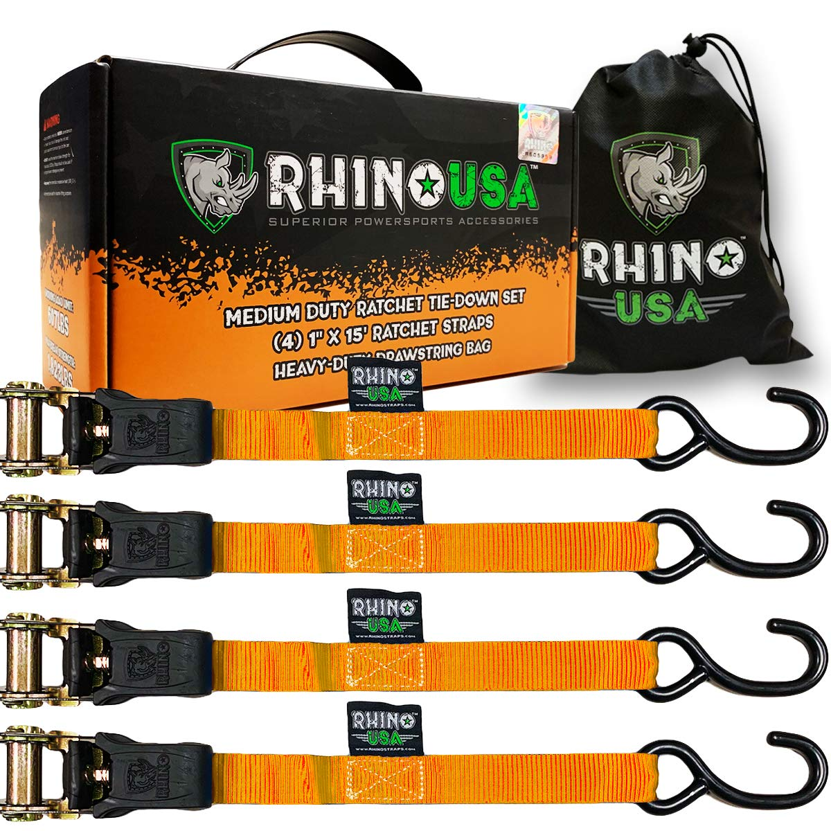 RHINO USA Ratchet Tie Down Straps (4PK) - 1,823lb Guaranteed Max Break Strength, Includes (4) Premium 1'' x 15' Rachet Tie Downs with Padded Handles. Best for Moving, Securing Cargo (ORANGE)