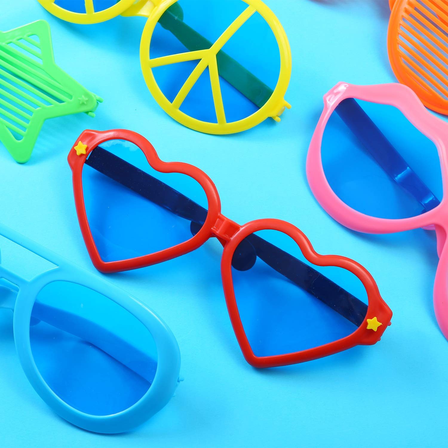 Tupa 6 Pieces Plastic Jumbo Fun Sunglasses Colorful Fun Glasses Star Heart Shaped Party Eyeglasses for Hawaiian Beach Photo Props Costume Fancy Dress Party Supplies Mixed Colors B