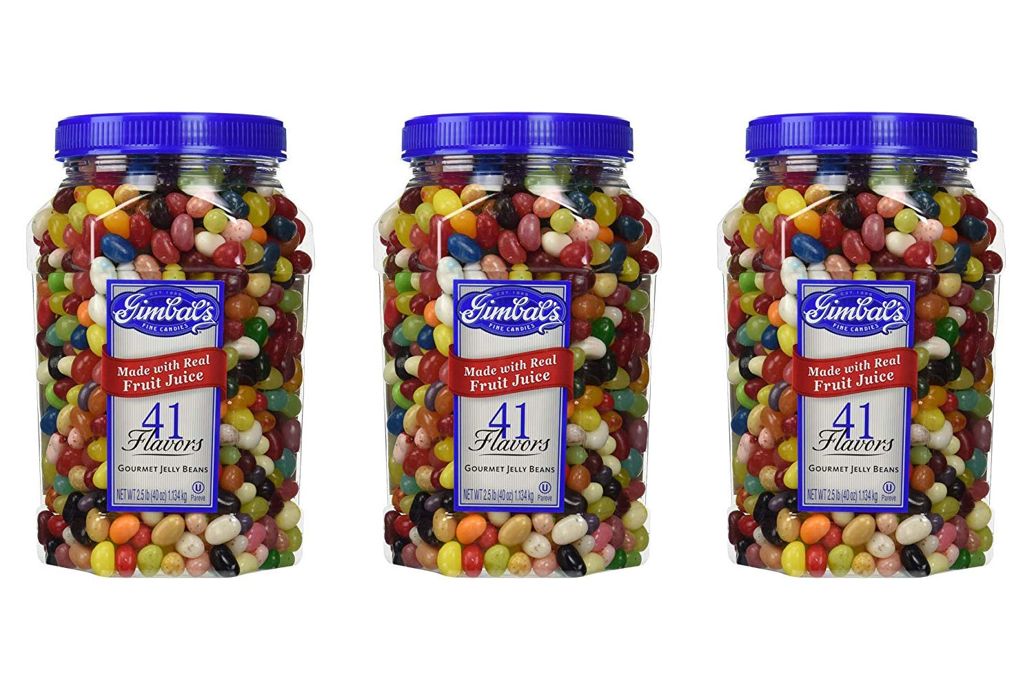 Gimbal's Fine Candies Gourmet Jelly Beans, 41 Flavors, 40-Ounce Jar (3 Pack)