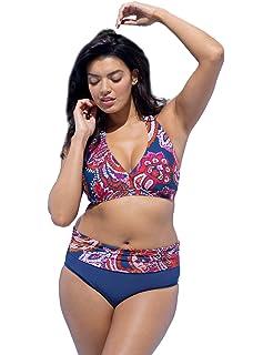 e94aca7769 chuangminghangqi Donna Bikini a Vita Alta Imbottito Taglie Forti Costume da  Bagno Due Pezzi Stampato Ricamo