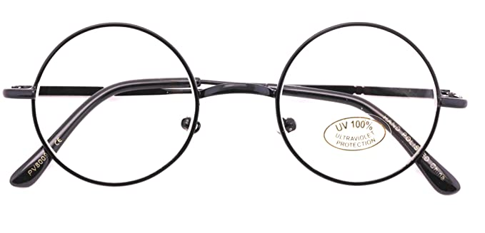 fc075fe92fb Casual Fashion Small Round Circle Clear Lens Eyeglasses Thin Frame Unisex  Glasses (Black)