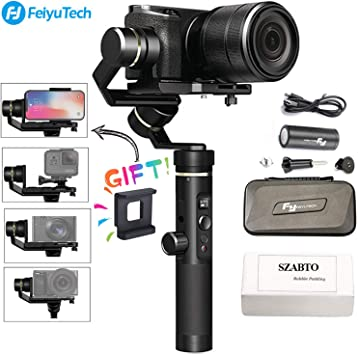 Feiyu G6 Plus 3-Axis Brushless Handheld Gimbal Stabilizer Splash-Proof 800g Payload 12 H Running Time for Smartphone//GoPro//Pocket Camera//Mirrorless Camera Like iPhone Sony a6500 Sony RX100 Canon