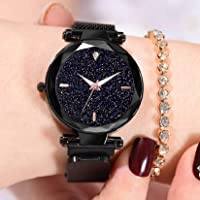 Acnos Hours 3,6,9 Represents Line and 12 Represent Diamond Black 21st Century Magnet Analog Watch for Girls and Women(MGNT-Black)