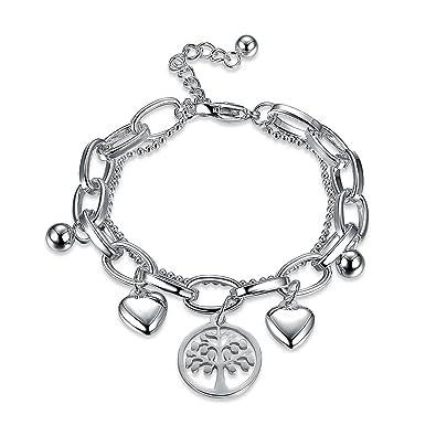 Modeschmuck Gelernt Damen Armband Silber Zirkonia Herz Liebe Armkettchen Geschenk °top Elegante Form