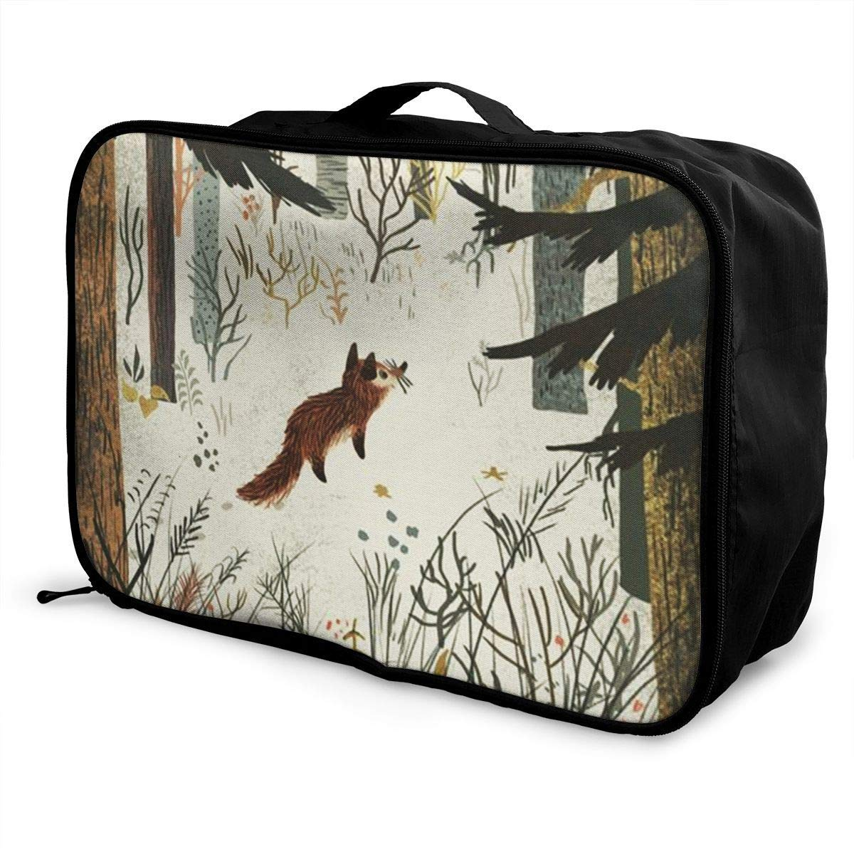 Portable Luggage Duffel Bag Animals And Forests Travel Bags Carry-on In Trolley Handle