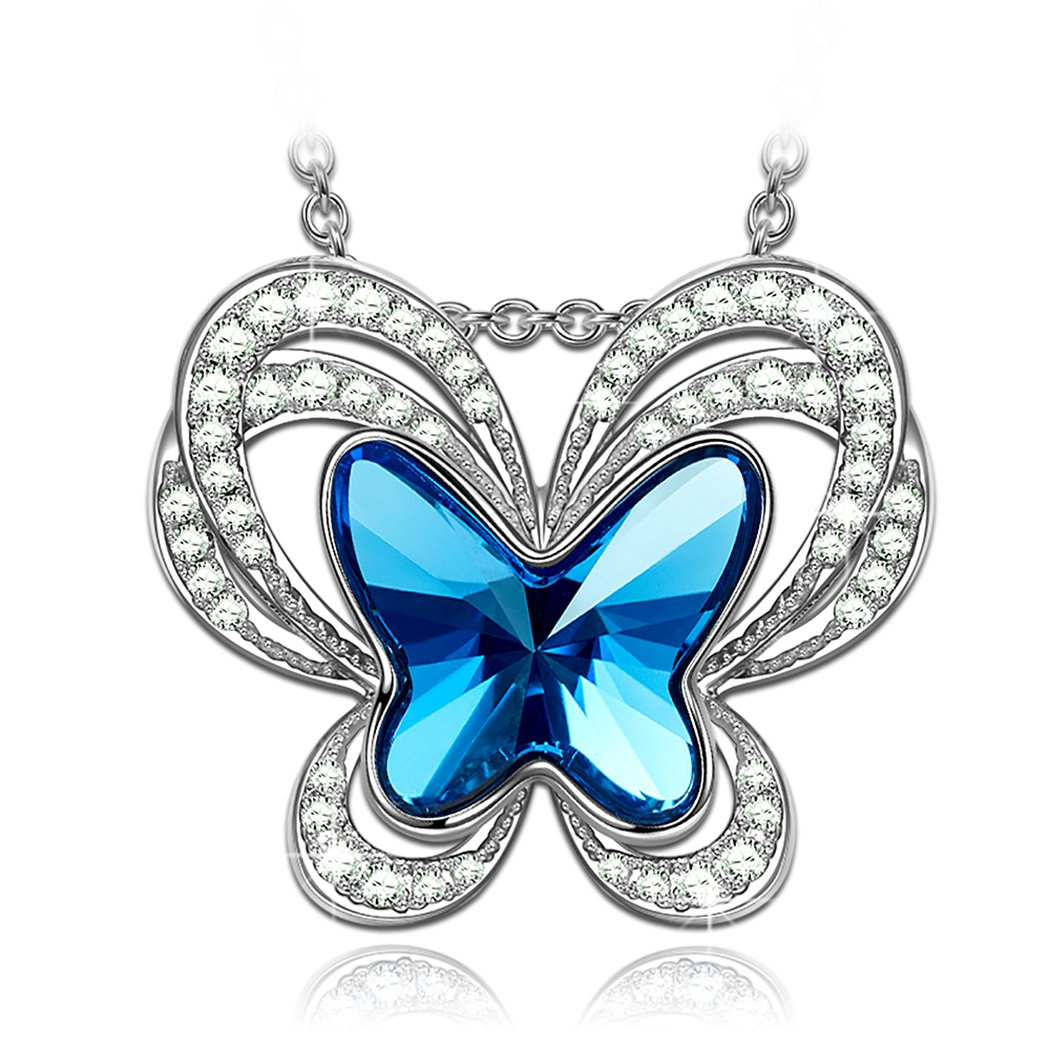 Kate Lynn Woman's Butterfly Swarovski Crystals ❤️Pendant Necklace❤️ Stud Earrings❤️ with Gift Box, Soft, Cloth earrings for women