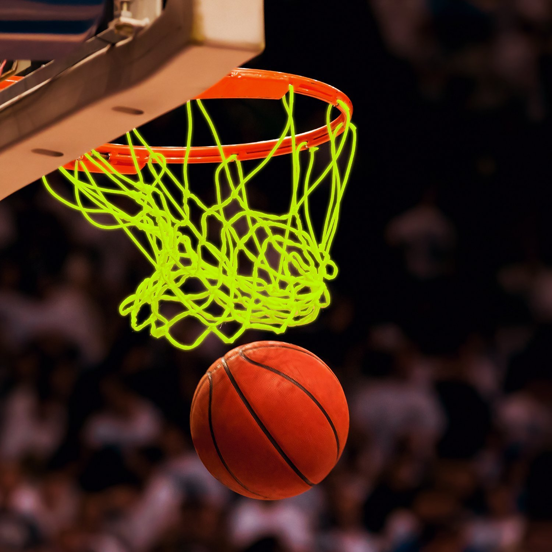 Wei/ß und Gr/ün Bomach 2/St/ück Basketball Net Glow in The Dark Basketballkorb Net Professional Heavy Duty Innen-Basketball Sports Luminous Rand Net Ersatz f/ür Allwetter