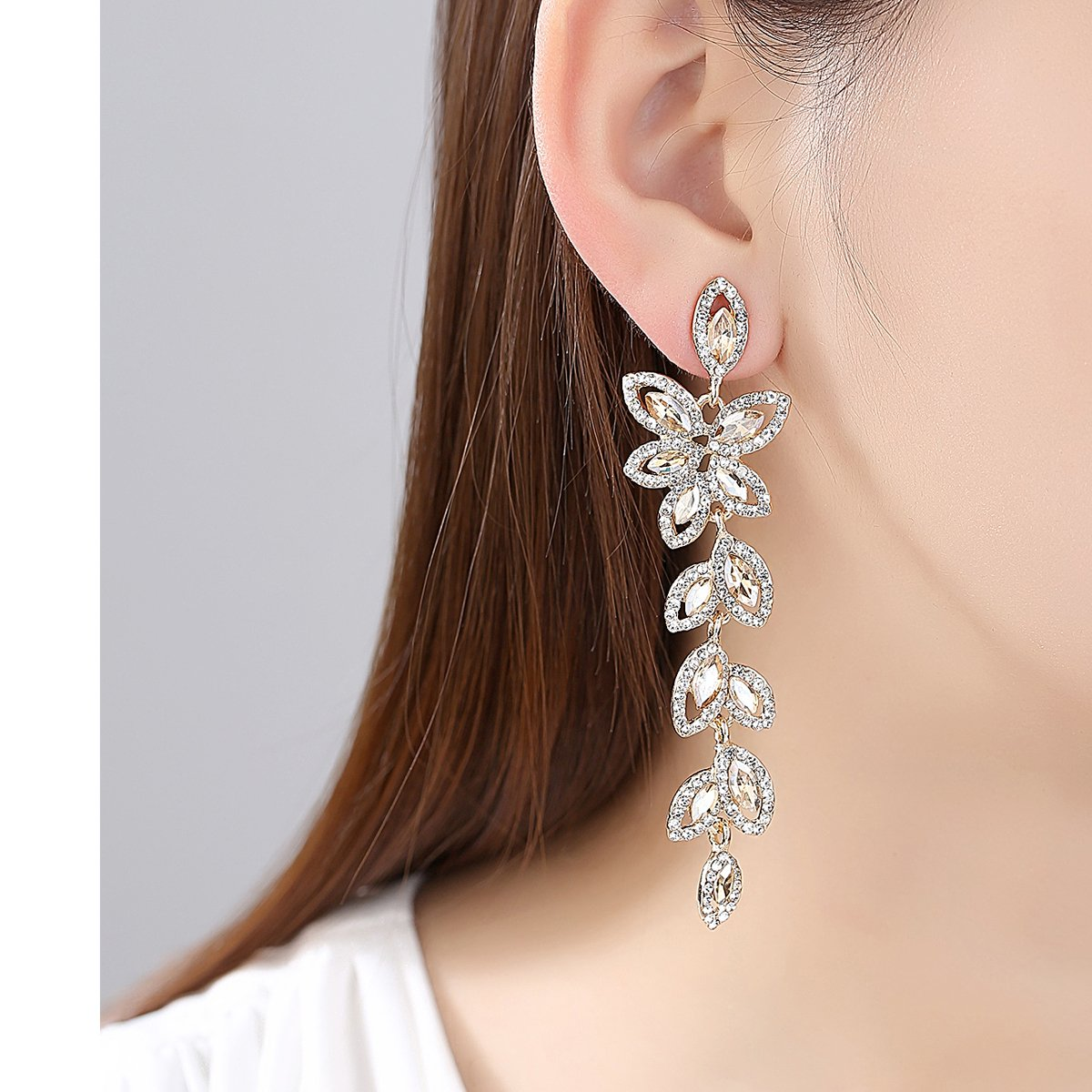 mecresh Champagne Rhinestone Leaf-Shape Earring and Bracelets Wedding Jewelry Sets for Women Brides Bridesmaid by mecresh (Image #2)