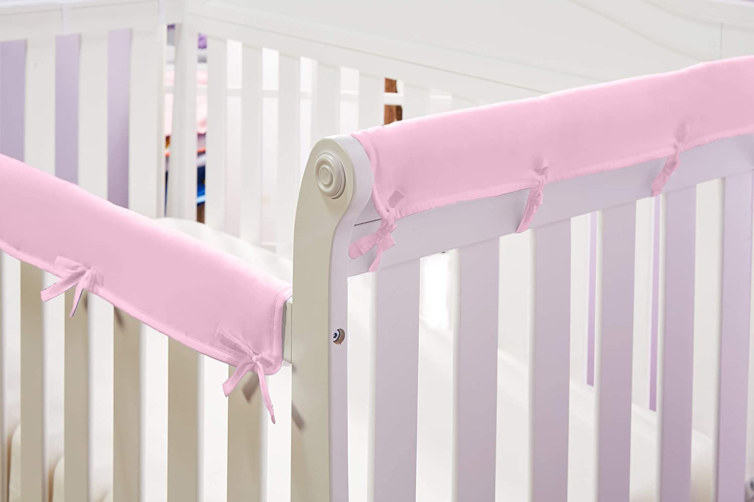 3-Piece Front and Side Padded Rail Cover Crib Rail Teething Guard with Sewn Ties for Secure Fit Grey Soft Microfiber Polyester Padded Baby Crib Rail Cover Set