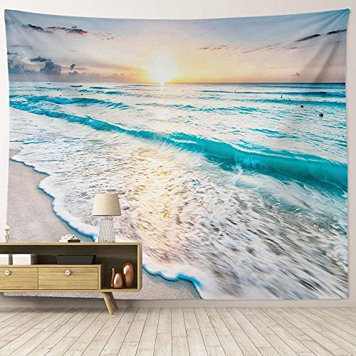 HIYOO Home Nature Art Wall Hanging Fabric Tapestry, Tropical Ocean Sea Coast Sand Beach Waves Tapestry, Decor For Dorm Room, Bedroom, Living Room, Party Background – Sunrise 90 W x 71 L