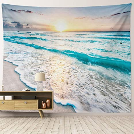 Hiyoo Home Beach Waves Sunrise Tapestry Wall Hanging Tropical Ocean Sea Coast Seashore Wall Tapestry Nature Art Tapestries Decor For Dorm Bedroom Living Room Wall Background 90 W X 71 L Everything Else