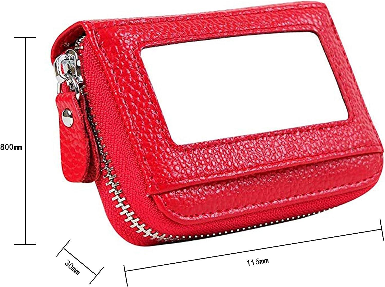 HoYiXi Genuine Leather Credit Card Case Travel RFID Blocking Card Holder Credit Card Wallet with Zipper-Black