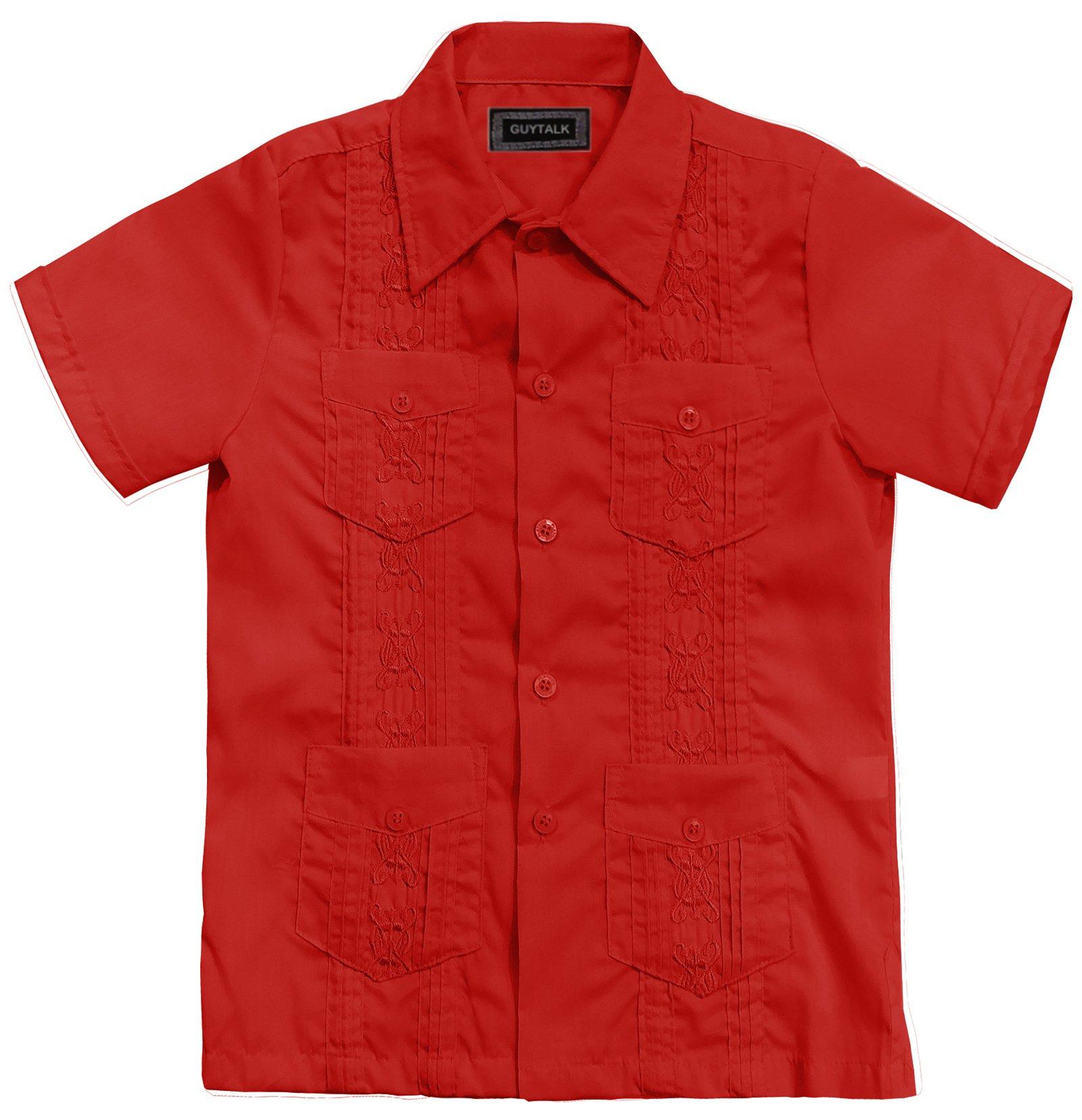Guytalk Kids Boys' Guayabera Short Sleeve Shirt Red-4