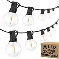 100ft 2-Pack Outdoor G40 LED Globe String Lights Dimmable Waterproof Shatterproof Light Strings with 52 Bulbs…