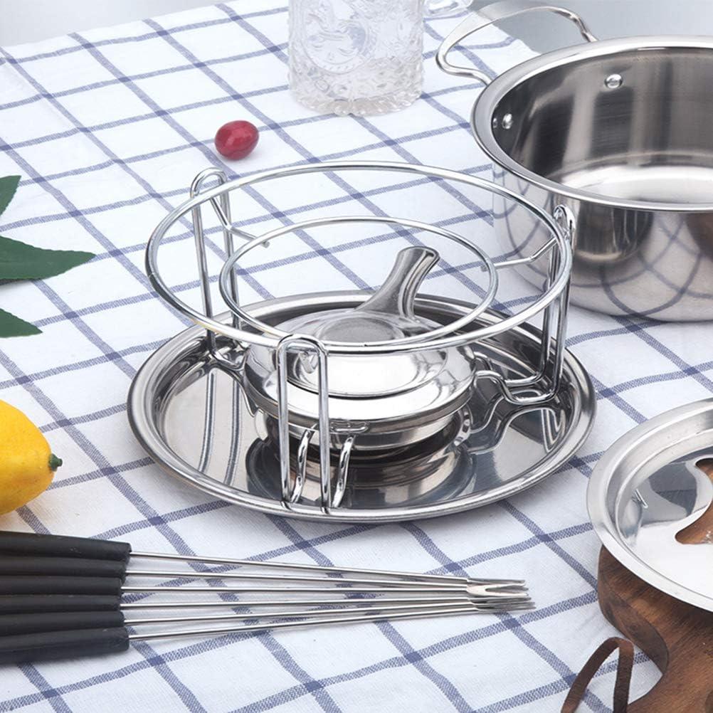 BESTonZON 10-Piece Set Stainless Steel Chocolate Melting Pot Cheese Fondue Set Kitchen Accessories