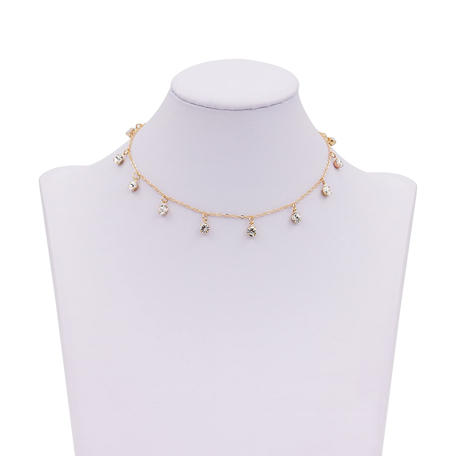 Zealmer Delicate Gold Choker With Sequins Piece Dove White Pearl by Zealmer